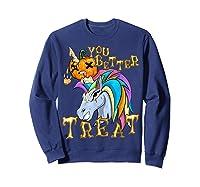 Unicorn Pumpkin Shirts Sweatshirt Navy