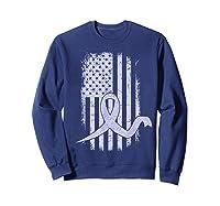 American Flag Stomach Cancer Awareness Ribbon T-shirt Sweatshirt Navy