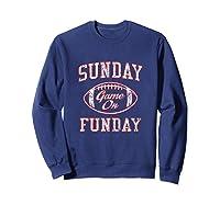 Vintage Sunday Funday T Shirt New England Football Retro Tee Sweatshirt Navy
