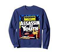 Marijuana Warning Reefer Madness Fun Vintage Funny Graphic Shirts Sweatshirt Navy