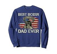 Best Boxer Dad Ever Dog Lover American Flag Gift Shirts Sweatshirt Navy