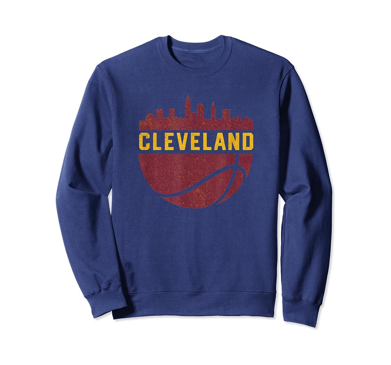 Vintage Cleveland Ohio Cityscape Retro Basketball Shirts Crewneck Sweater