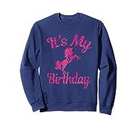 It\\\'s My 8th Birthday Girls Party 8 Pink Unicorns T-shirts T Sweatshirt Navy