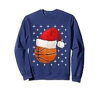 Christmas Stars Basketball Ball Santa Hat Funny Sports Xmas T-shirt Sweatshirt Navy