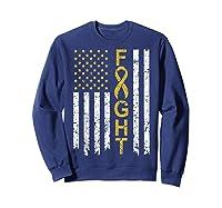 Childhood Cancer Awareness T-shirt American Flag Distresse T-shirt Sweatshirt Navy
