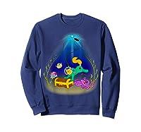 Underwater Treasure Hunter Cat Adventure Shirts Sweatshirt Navy