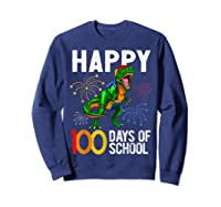 100 Days Of School Dinosaur T Rex Pencil Backpack Gift Shirts Sweatshirt Navy