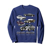 Classic American Muscle Cars Vintage Gift Shirts Sweatshirt Navy
