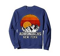 Adirondacks Retro Mountain Sunset Shirts Sweatshirt Navy