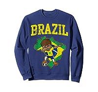 Brazil Soccer Boy Brazilian Football Dabbing Shirts Sweatshirt Navy