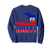 Vintage Haitian Flag I Love Haiti Shirts Sweatshirt Navy