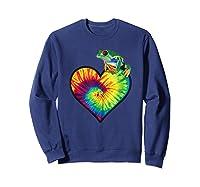 Tie-dye Heart Love Tree Frog Cute Funny Colorful T-shirt Sweatshirt Navy