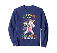 Yaya Of The Birthday Princess Unicorn Girl T-shirt Sweatshirt Navy