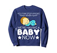 Baby Family Pregnant Mother Daughter Son Design Having Baby Shirts Sweatshirt Navy
