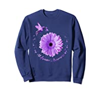 Hummingbird Sunflower Purple Ribbon Alzheimer's Awareness Shirts Sweatshirt Navy