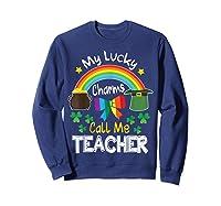 Rainbow Shamrock My Lucky Charms Call Me Tea Shirts Sweatshirt Navy