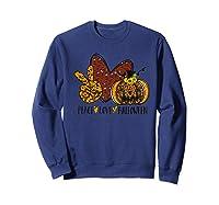 Peace Love Halloween Leopard Print Pumpkin Custom Gift Premium T-shirt Sweatshirt Navy