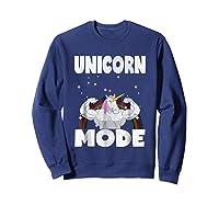 Unicorn Mode Rainbow Stars Hustle Muscle Work Party Shirts Sweatshirt Navy