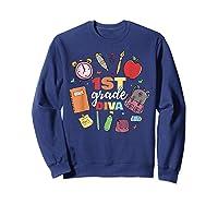 1st Grade Diva Girls First Day Of School Shirts Sweatshirt Navy