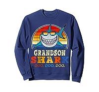 Vintage Grandson Shark T-shirt Birthday Gifts For Family Sweatshirt Navy