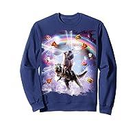 Laser Eyes Space Cat On Dinosaur - Rainbow T-shirt Sweatshirt Navy
