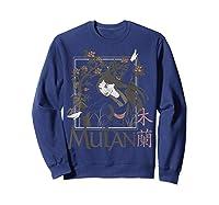 Disney Mulan Floral Square Portrait T-shirt Sweatshirt Navy