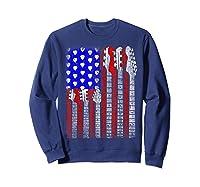 Guitar Vintage American Usa Flag Rock 4th Of July Shirts Sweatshirt Navy