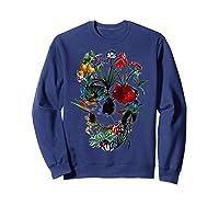 Skull Flowers Tulip Sugar Skull Tree Floral Skull Rose T-shirt Sweatshirt Navy