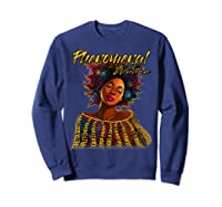 Phenoal Natural Hair Gift For Black Woman Shirts Sweatshirt Navy