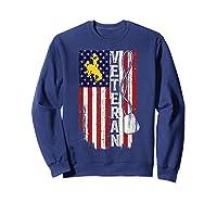 Wing Cow Veteran Veteran Flag Apparel Shirts Sweatshirt Navy