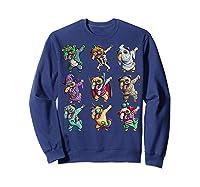 Funny Pug Halloween Pug Pumpkin Dabbing Pug Unicorn Witch Shirts Sweatshirt Navy