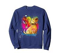 Pixar Up Dug Watercolor Rainbow Graphic Shirts Sweatshirt Navy