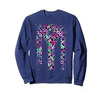 Floral Flower Boricua Taino Cool Gift Plum Puerto Rico Flag Shirts Sweatshirt Navy