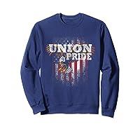 Union Pride American Flag Eagle Labor Day Usa Worker Shirts Sweatshirt Navy