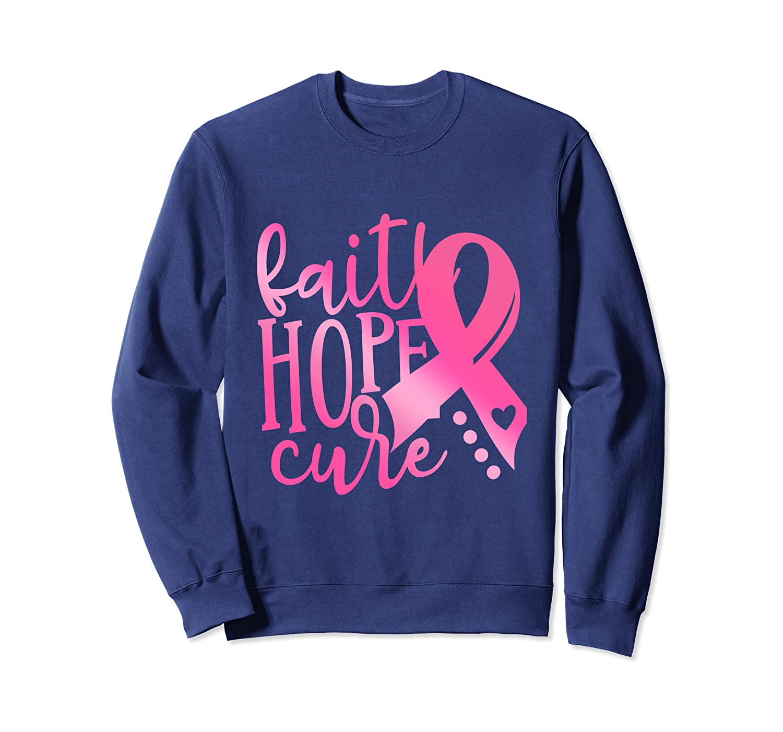 faith hope cure Flower pink Ribbon Breast Cancer Awareness Sweatshirt