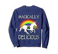 Magically Delicious Unicorn St Patrick's Day Ns Shirts Sweatshirt Navy
