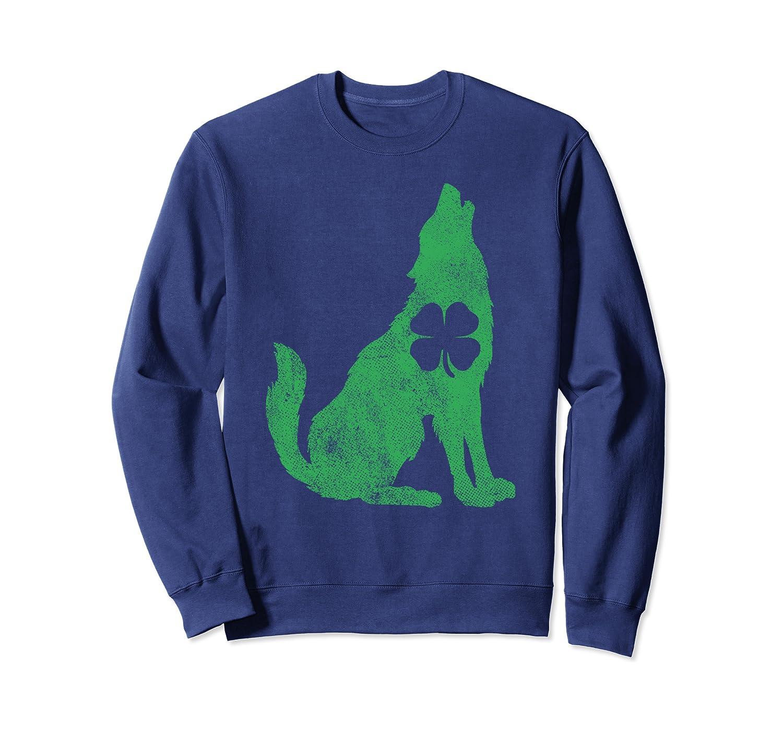 Wolf Wolves St. Patricks Day Shamrock Clover Irish Gift Sweatshirt Unisex Tshirt
