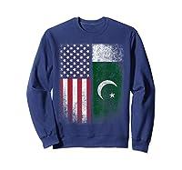 Pakistan Usa Pakistani American Flag Pride Shirts Sweatshirt Navy