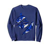 Pod Of Orca Whales T-shirt Sweatshirt Navy