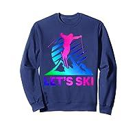 Retro Ski Vintage 80s 90s Skiing Out Shirts Sweatshirt Navy