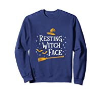 Resting Witch Face Shirt Broomstick Funny Spooky Party Tank Top Sweatshirt Navy