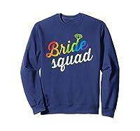 Bride Squad Shirt - Lgbt Cute Rainbow Ring Bachelorette Gift Sweatshirt Navy