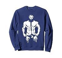 Bearded Hunk T-shirt - Gay Bear Interest Sweatshirt Navy