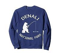 Alaska Denali National Park Bear Fishing Silhouette T-shirt Sweatshirt Navy