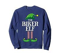 Biker Elf Matching Family Group Christmas Party Pajama T-shirt Sweatshirt Navy