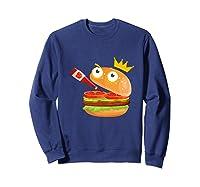 King Hamburger Drinking Tomato Sauce Funny Cartoon Tshirt Sweatshirt Navy