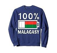 Madagascar Flag T Shirt 100 Malagasy Battery Power Tee Sweatshirt Navy