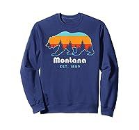 Montana 1889 Wilderness Mountain Wildlife Bear Tshirt Sweatshirt Navy