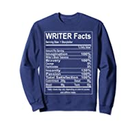 Writer Facts Storyteller Nutrition Information T Shirt Sweatshirt Navy