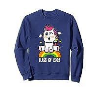 Unicorn First Day Of School Class Of 2032 Grow With Me Premium T-shirt Sweatshirt Navy